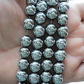 Материалы для творчества handmade. Livemaster - original item The smooth hematite beads 9mm silver plated. Handmade.