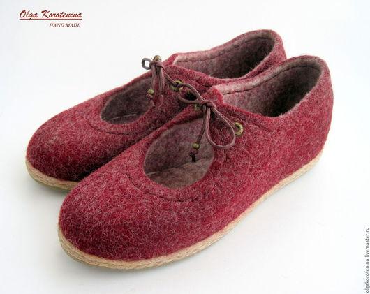 """Обувь ручной работы. Ярмарка Мастеров - ручная работа. Купить Валяные туфли """"Прогулка по Бордо...."""". Handmade. Бордовый"""