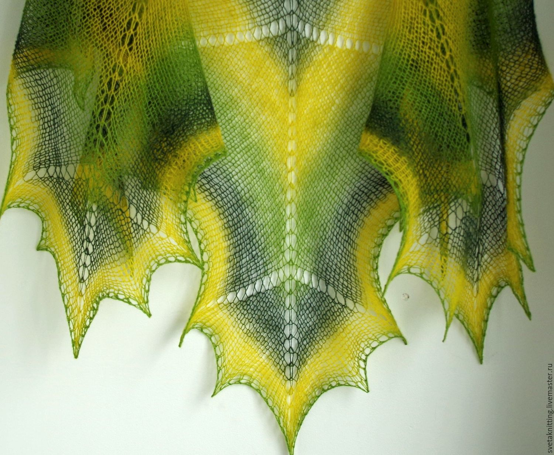 Кленовый лист в вязании спицами