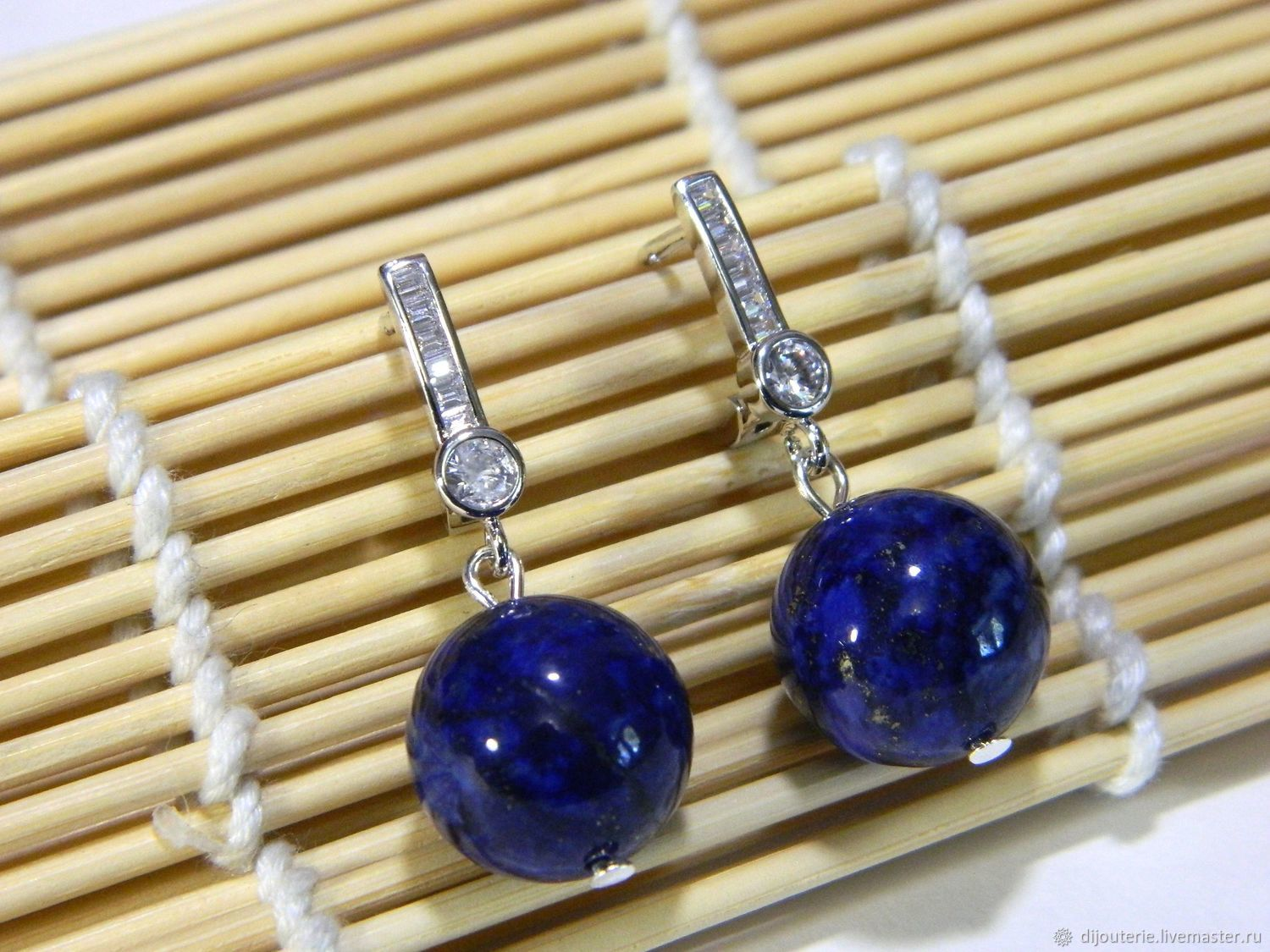 Earrings natural Lapis lazuli, Earrings, Saratov,  Фото №1