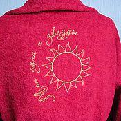 Одежда ручной работы. Ярмарка Мастеров - ручная работа Ярко-бордовый махровый халат с вышивкой 15211. Handmade.