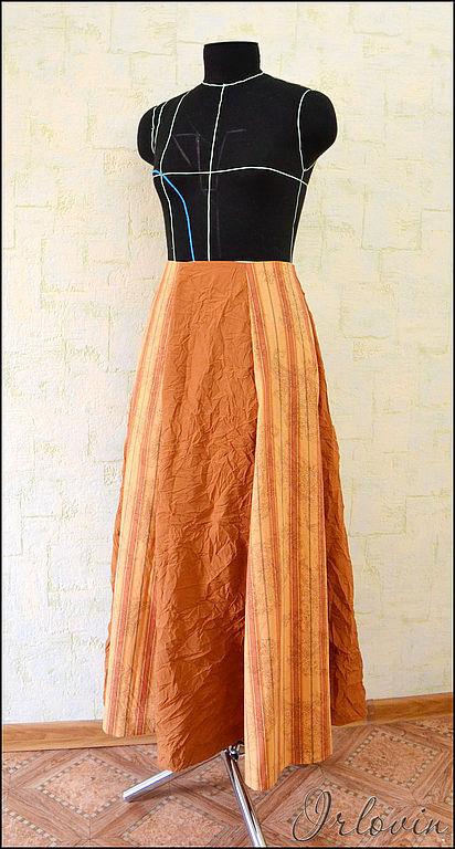 Юбки ручной работы. Ярмарка Мастеров - ручная работа. Купить Длинная рыжая юбка. Handmade. Рыжий, летняя юбка, полоска