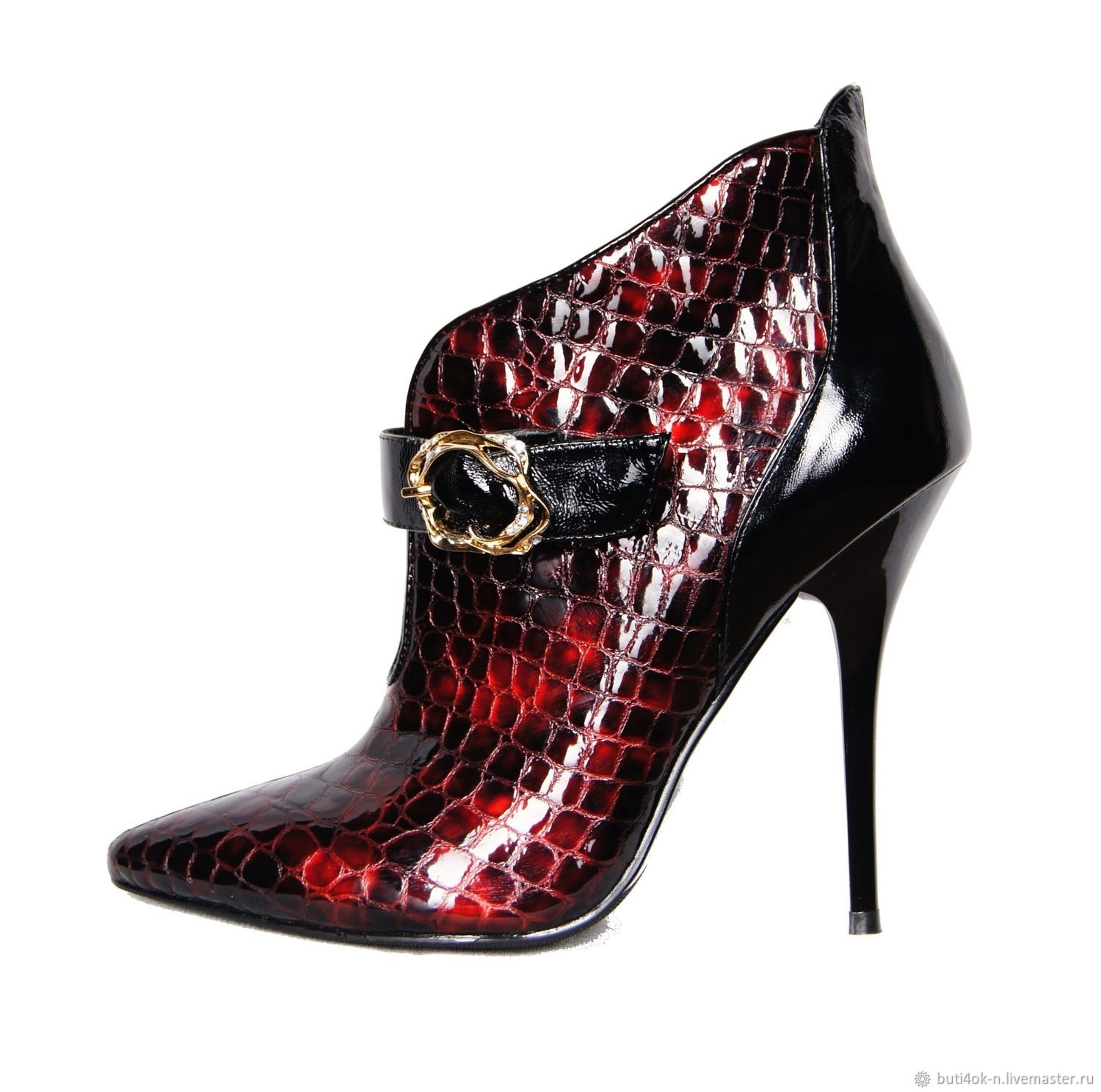 Elegant ankle boots under reptile genuine leather Burgundy, Ankle boots, Nelidovo,  Фото №1