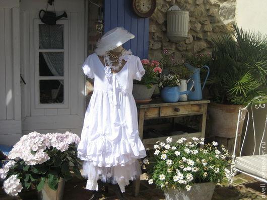 Платья ручной работы. Ярмарка Мастеров - ручная работа. Купить Белое и романтика на белом, день на даче. Handmade. Белый