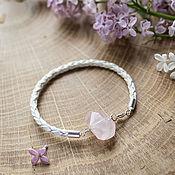 Украшения handmade. Livemaster - original item Bracelet with rose quartz, leather. Handmade.