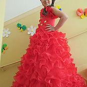 Работы для детей, ручной работы. Ярмарка Мастеров - ручная работа Красное яркое платье на девочку 4-7 лет. Handmade.