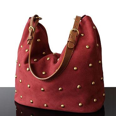 Bags and accessories handmade. Livemaster - original item Suede women bag with decor trend 2020. Handmade.