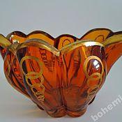 Винтаж handmade. Livemaster - original item Vase, yellow colored glass.Art Deco. Amber, yellow, honey glass. Handmade.