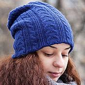 Аксессуары ручной работы. Ярмарка Мастеров - ручная работа Шапка носок мужская женская (синий, индиго, васильковый). Handmade.
