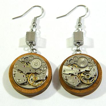 "Subcultures handmade. Livemaster - original item Copy of Steampunk earrings ""STEAMPUNK VINTAGE"" bronze long. Handmade."