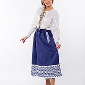 Одежда handmade. Livemaster - original item Skirt linen Spicy plum 01 in Russian style. Handmade.