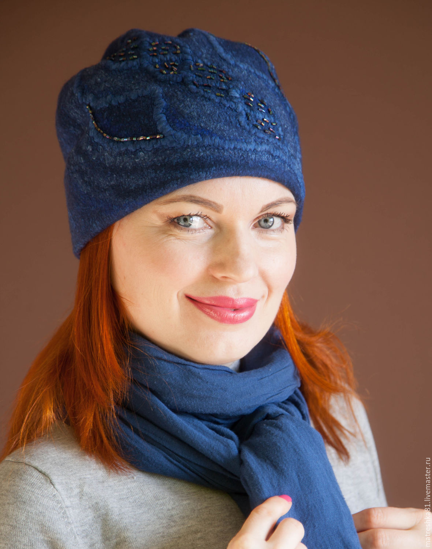 Women's felted hat dark blue, Caps, Khabarovsk,  Фото №1