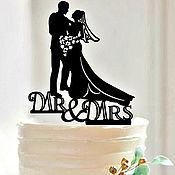 Свадебный салон handmade. Livemaster - original item 4! Topper for the wedding cake.Figurines of the bride and groom.. Handmade.