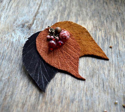Броши ручной работы. Ярмарка Мастеров - ручная работа. Купить осенняя брошь из кожи осенние листья с бусинами подарок женщине. Handmade.