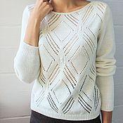 Одежда ручной работы. Ярмарка Мастеров - ручная работа Пуловер с ромбами (вязаный). Handmade.