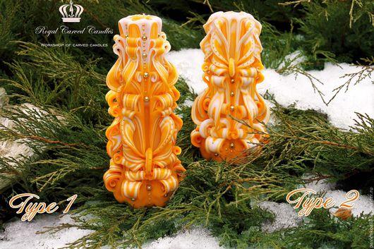 Резные свечи - желто-белые свечи - мастерская резной свечи Royal Candles