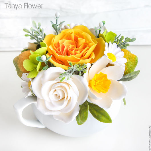 Букеты ручной работы. Ярмарка Мастеров - ручная работа. Купить Букет из роз, ромашек, нарциссов и лимонов в чайничке. Handmade.