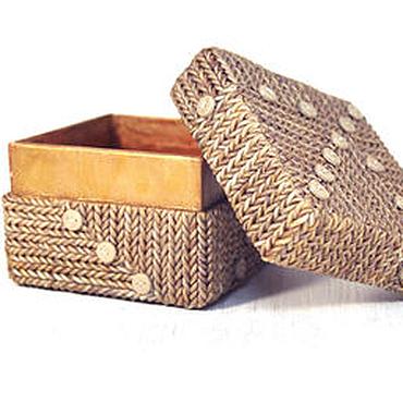 Для дома и интерьера ручной работы. Ярмарка Мастеров - ручная работа Шкатулка из полимерной глины квадратная - Вязанка. Handmade.