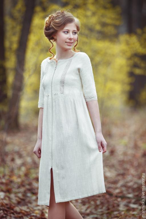 Платья ручной работы. Ярмарка Мастеров - ручная работа. Купить Валяно-льняное платье  МОЛОКО. Handmade. Белый, авторский стиль