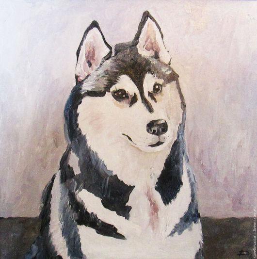 """Животные ручной работы. Ярмарка Мастеров - ручная работа. Купить Картина маслом """"Лайка"""". Handmade. Комбинированный, собака, чёрно-белый"""