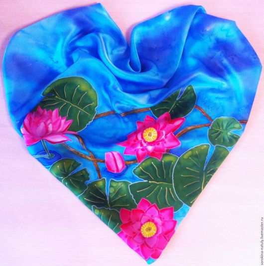 Батик платок `Розовые лотосы` 100% шёлк-атлас.Ярмарка мастеров.Ручная работа.Купить подарок девушке женщине.