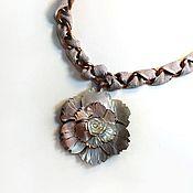 Украшения handmade. Livemaster - original item Mother-of-pearl flower large chain choker with carved pendant. Handmade.