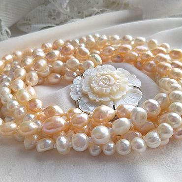 Decorations handmade. Livemaster - original item Necklace: white and peach pearls in five rows.. Handmade.