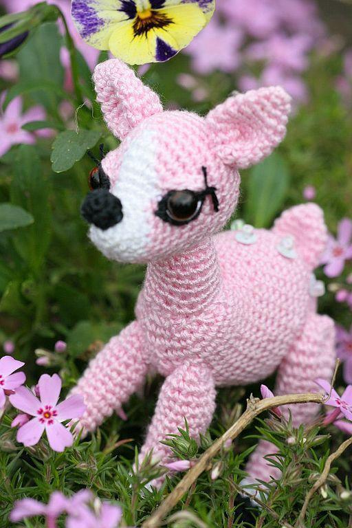 Игрушки животные, ручной работы. Ярмарка Мастеров - ручная работа. Купить Олененок розовый. Handmade. Вязаные игрушки, хлопок