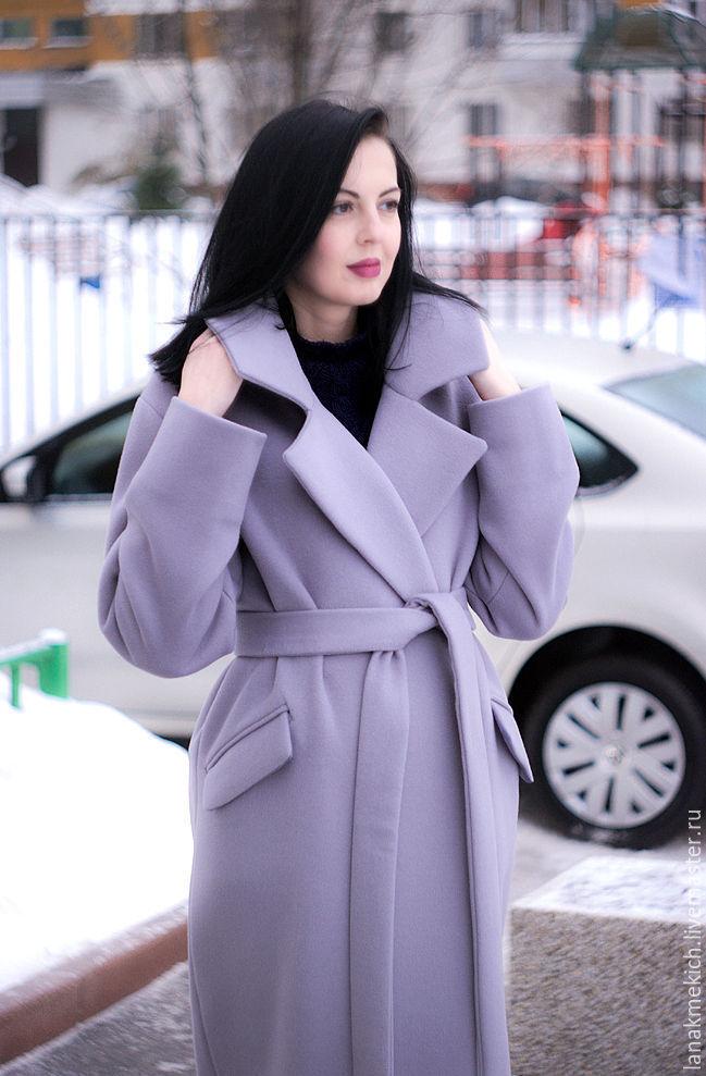 Coat with belt 'Pale cornflower blue ...', Coats, Moscow,  Фото №1