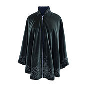 Одежда handmade. Livemaster - original item Velvet coat poncho with author embroidery dark green color. Handmade.