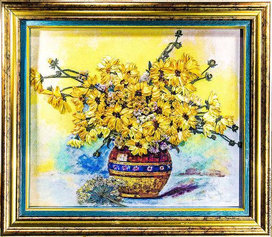 Картины цветов ручной работы. Ярмарка Мастеров - ручная работа. Купить Картина вышитая лентами и гладью. Handmade. вышивка  лентами