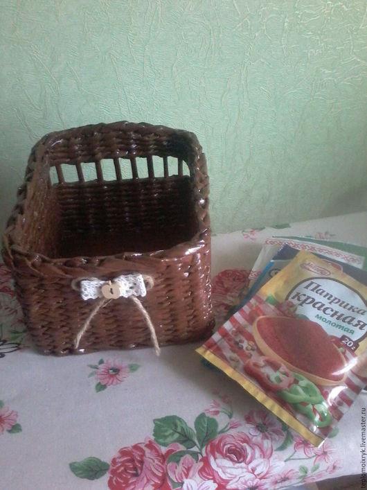 Кухня ручной работы. Ярмарка Мастеров - ручная работа. Купить корзинка для специй. Handmade. Коричневый, кухня, пуговица