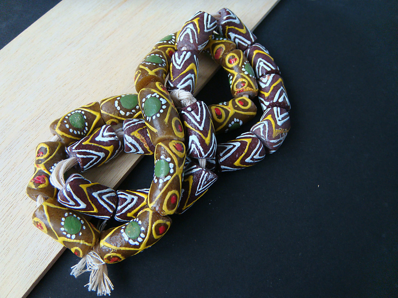 Krobo beads Africa Ghana 2 kinds zigzag / green companion, Beads1, Bryansk,  Фото №1
