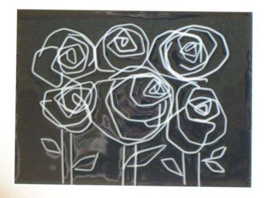 """Символизм ручной работы. Ярмарка Мастеров - ручная работа. Купить Фьюзинг. """"Розы"""". Handmade. Стекло, панно, синий"""