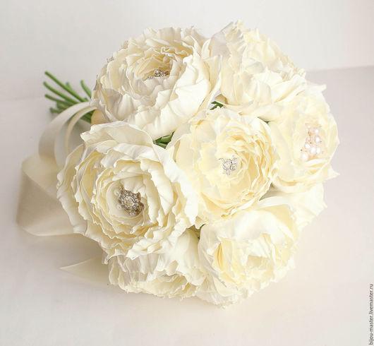 Свадебные цветы ручной работы. Ярмарка Мастеров - ручная работа. Купить свадебный комплект с букетом ПЛОМБИР. Handmade. Белый