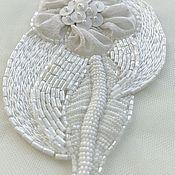 Аппликации ручной работы. Ярмарка Мастеров - ручная работа Аппликации: Люневильская вышивка Белый Цветок 26 долларов. Handmade.