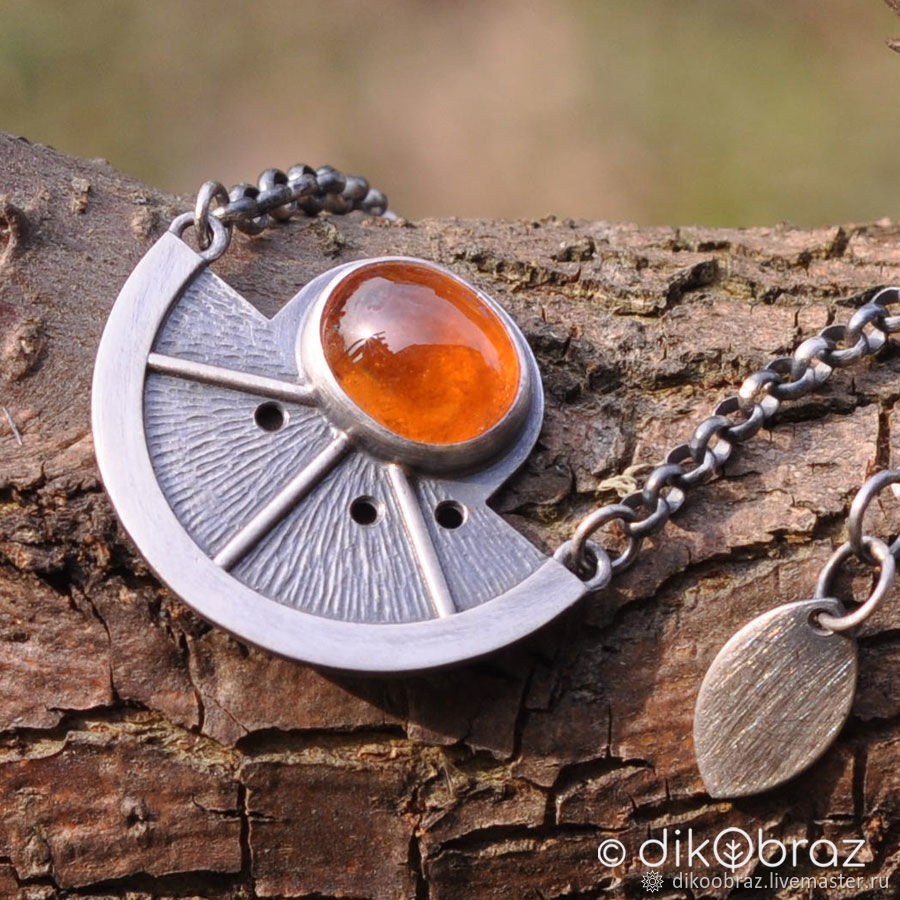 Sterling silver pendant with chain Orange spessartine garnet, Pendant, Moscow,  Фото №1