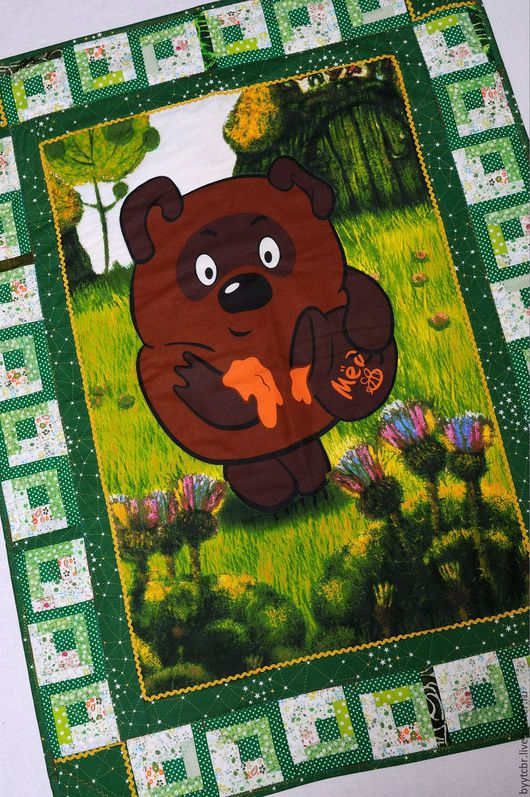 Пледы и одеяла ручной работы. Ярмарка Мастеров - ручная работа. Купить ВИННИ-ПУХ Детское лоскутное одеяло лоскуное одеяло плед детское. Handmade.