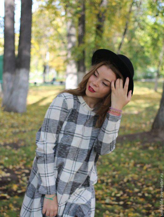 Платья ручной работы. Ярмарка Мастеров - ручная работа. Купить Осень в клеточку. Handmade. Серый, молодежное, платье в клетку