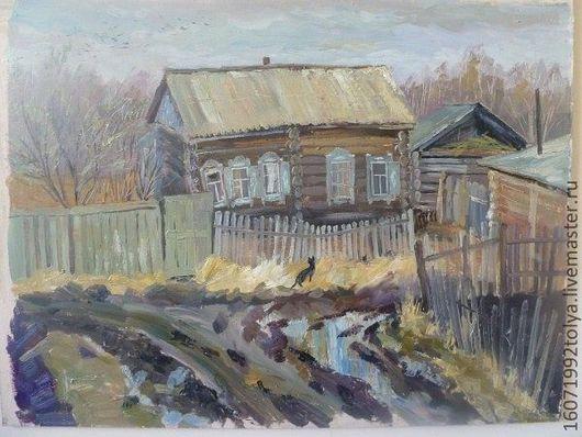 Деревенский пейзаж, старенький домик перекосившийся, весна, распутица., черная кошечка