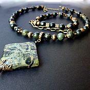 Украшения handmade. Livemaster - original item Choker with a large pendant (ocean Jasper). Handmade.