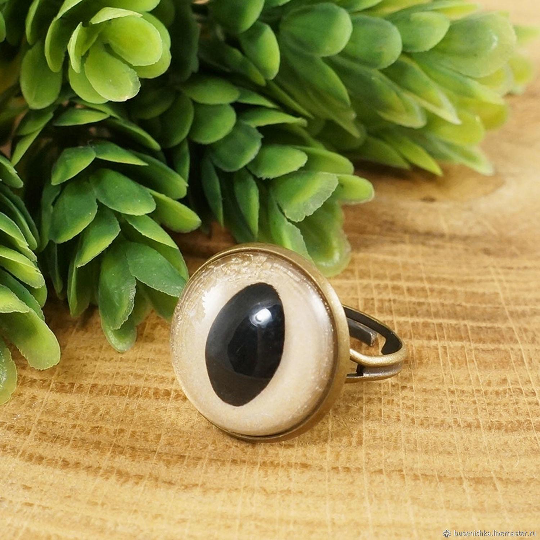 Кольцо Кошачий глаз золотистый bronze 18мм, Кольца, Москва,  Фото №1