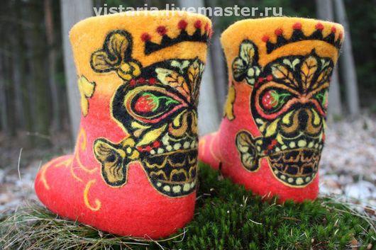 Обувь ручной работы. Ярмарка Мастеров - ручная работа. Купить Валеночки « Rock it! » русский стиль. Handmade.