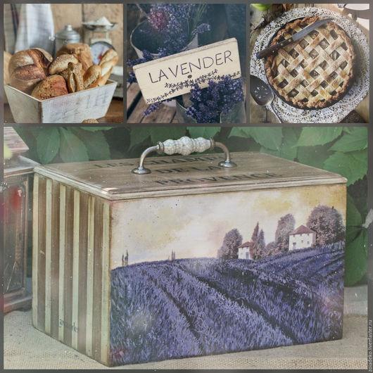 """Кухня ручной работы. Ярмарка Мастеров - ручная работа. Купить Короб-хлебница """"Поля Прованса"""". Handmade. Хлебница, короб для кухни"""