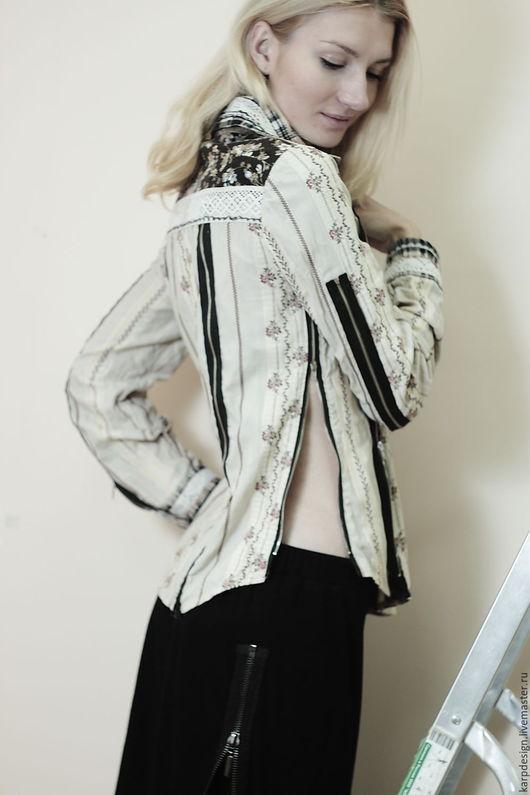 """Блузки ручной работы. Ярмарка Мастеров - ручная работа. Купить Рубашка с """"молниями"""". Handmade. Бежевый, блузка, молнии, кружево, хлопок"""