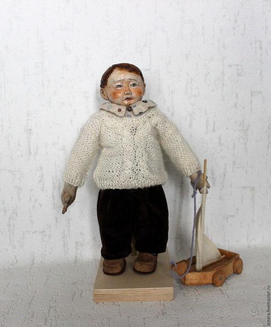 Человечки ручной работы. Ярмарка Мастеров - ручная работа. Купить Санечка. Текстильная кукла.. Handmade. Коричневый, игровая кукла, хлопок