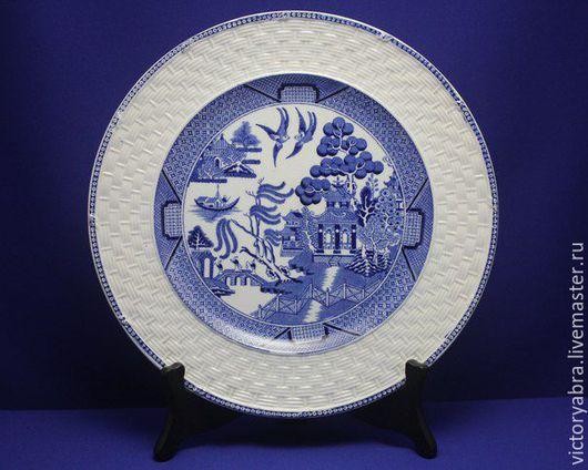 Винтажная посуда. Ярмарка Мастеров - ручная работа. Купить Антикварная тарелка BROWN WESTHEAD, MOORE & Co. Handmade. Синий