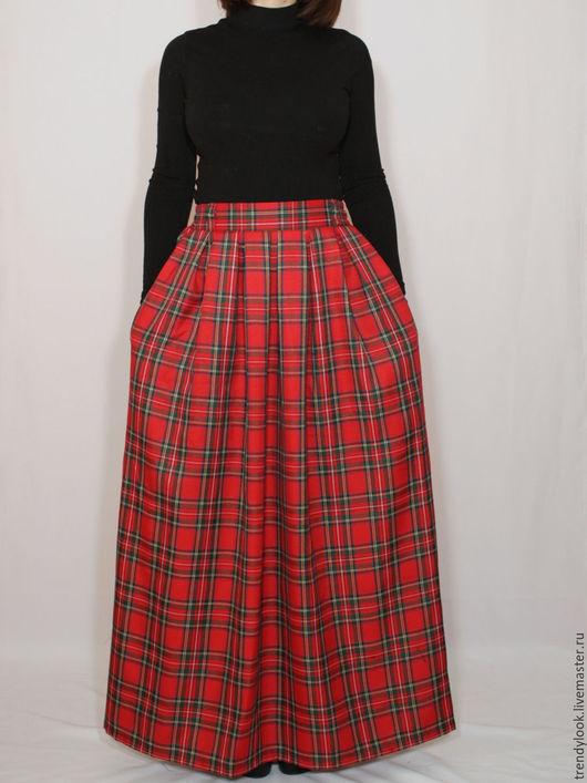 Юбки ручной работы. Ярмарка Мастеров - ручная работа. Купить Красная юбка в клетку, длинная юбка в складку, юбка шотландка. Handmade.