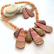 Украшения handmade. Livemaster - original item Necklace natural Jasper polymer clay Red sand. Handmade.