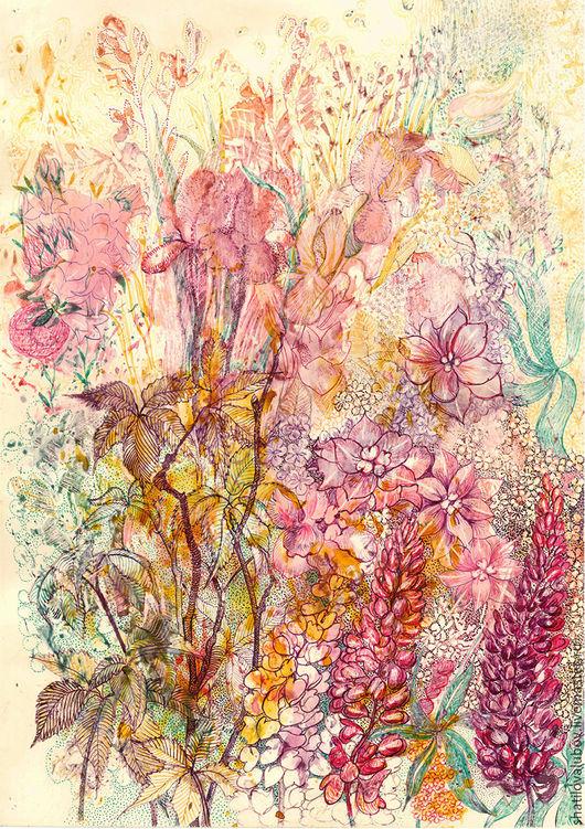 """Картины цветов ручной работы. Ярмарка Мастеров - ручная работа. Купить """"Полевые цветы"""". Handmade. Кремовый, на стену, репродукция"""